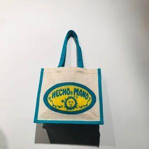 Mexican Blue & Yellow Sun Symbol Raffia Handbag